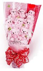 9 adet pelus ayicik buketi  Ayıcık demeti sevgilime en güzel hediye