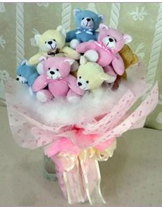 11 adet rengarenk pelus ayicik demeti  Bebek doğum hediyeleri