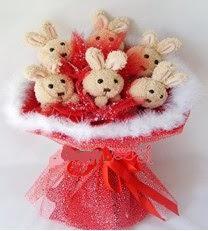 6 adet tavsandan tüller ile buket  Ayıcık demeti ayıcık buketi teddy buket
